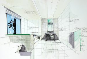 interior hand drawn perspetive of an apartment bathroom